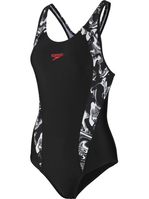 speedo Fit Laneback Swimsuit Women, black/white